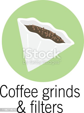 Vector illustration of a Coffee filter and grinds Compostable product. Easy to edit vector eps 10.