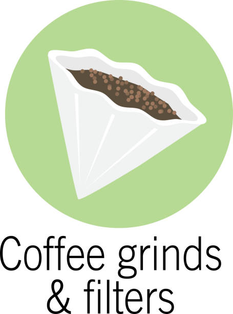 Coffee filter and grinds Compostable product icon vector art illustration