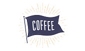 Coffee. Flag grahpic. Old vintage trendy flag with text Coffee. Vintage banner with ribbon flag, vintage style with linear drawing light rays, sunburst and rays of sun. Vector Illustration