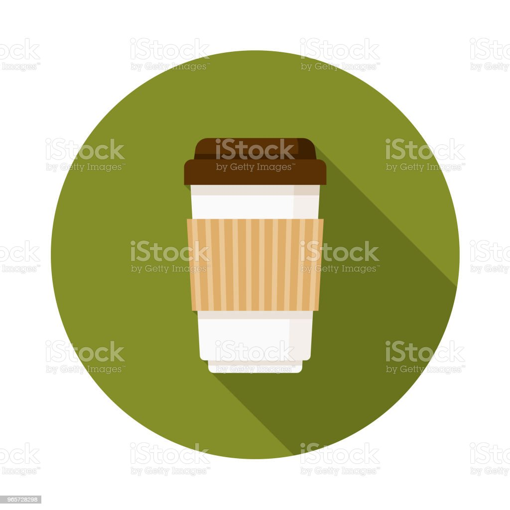 Coffee Flat Design Autumn Icon with Side Shadow - Векторная графика Без людей роялти-фри