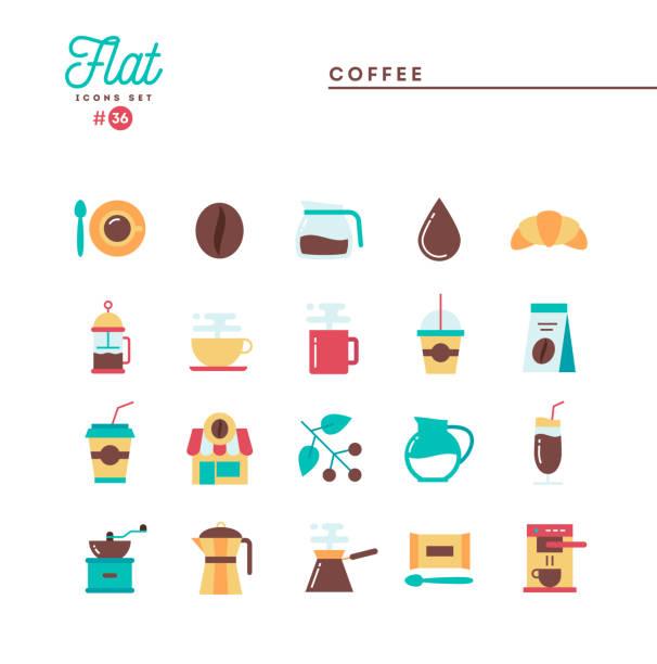 Coffee, flat icons set, vector illustration vector art illustration