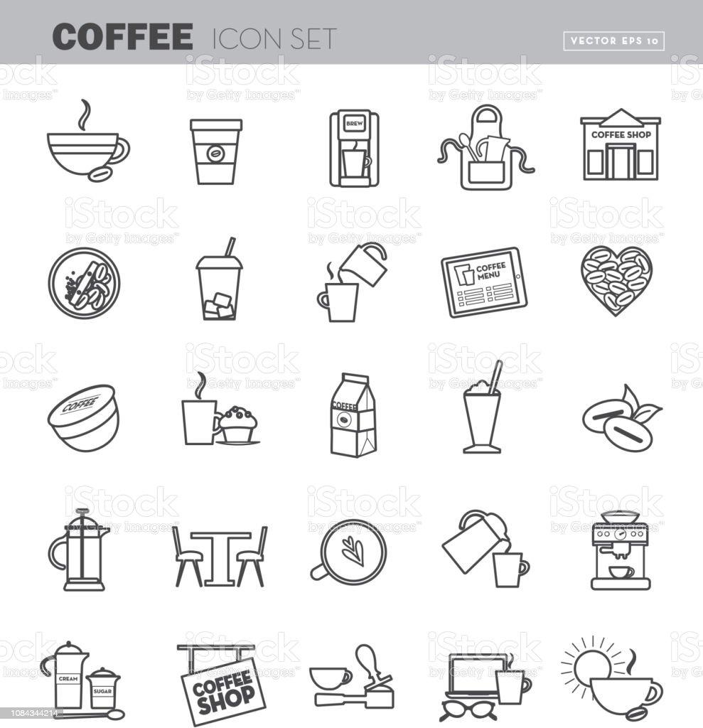 Ilustración de Esquema De Arte Café Línea Plana Diseño Icon Set y