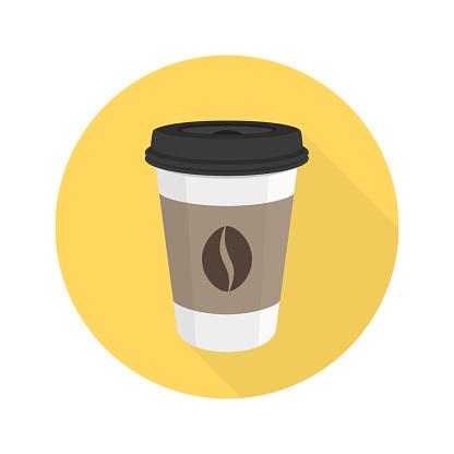 Coffee flat vector icon.