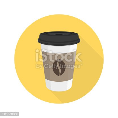 Coffee vector icon in flat style with long shadows. Takeaway coffee paper cup sign. EPS 10.
