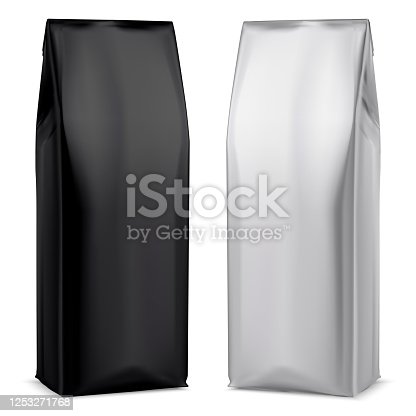 Coffee foil package. Black and White bag. 3d Pouch