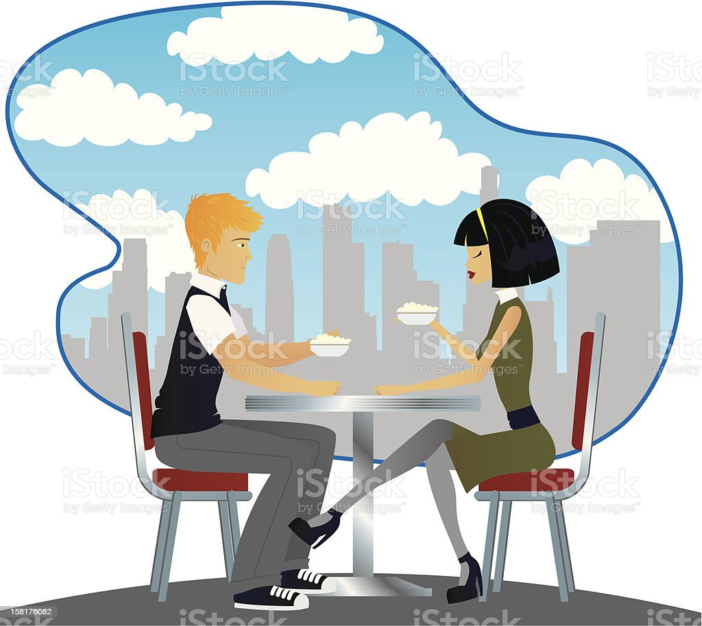 Coffee for Two vector art illustration