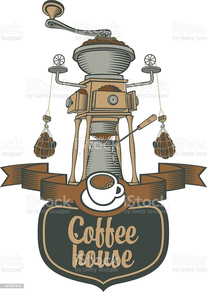 coffee grinder and beans vector art illustration