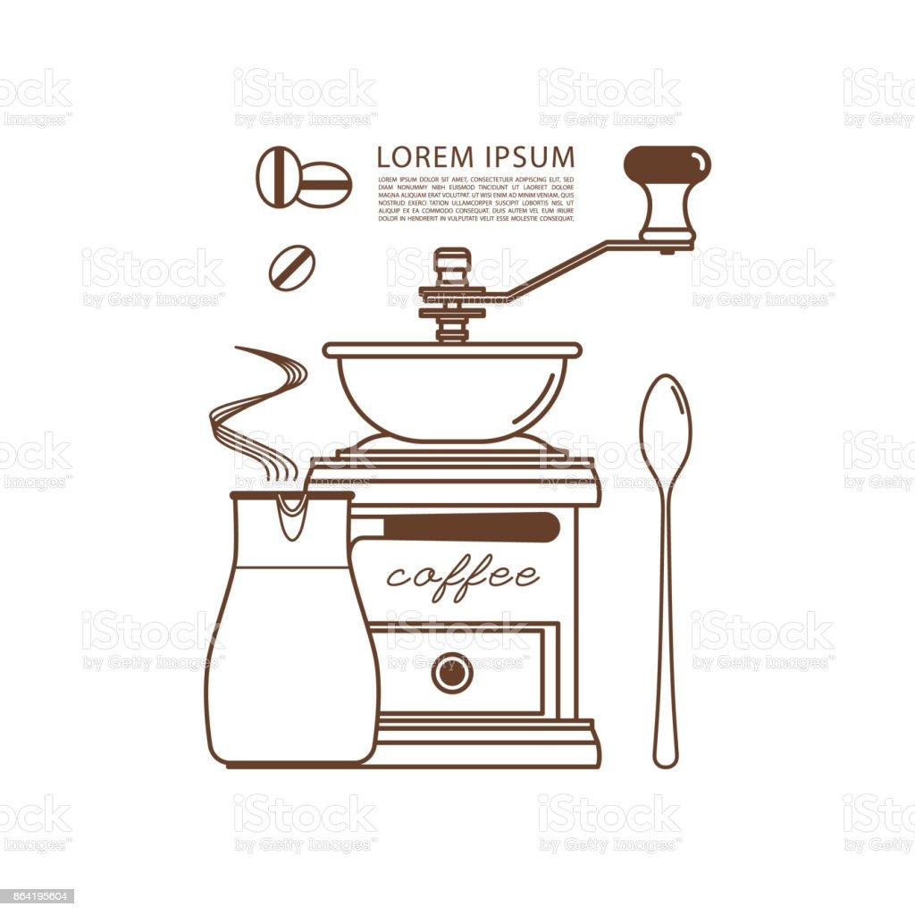 Moedor de café, cezve, colher e grãos de café. Ícones de lineares. Ilustração em vetor. - ilustração de arte em vetor