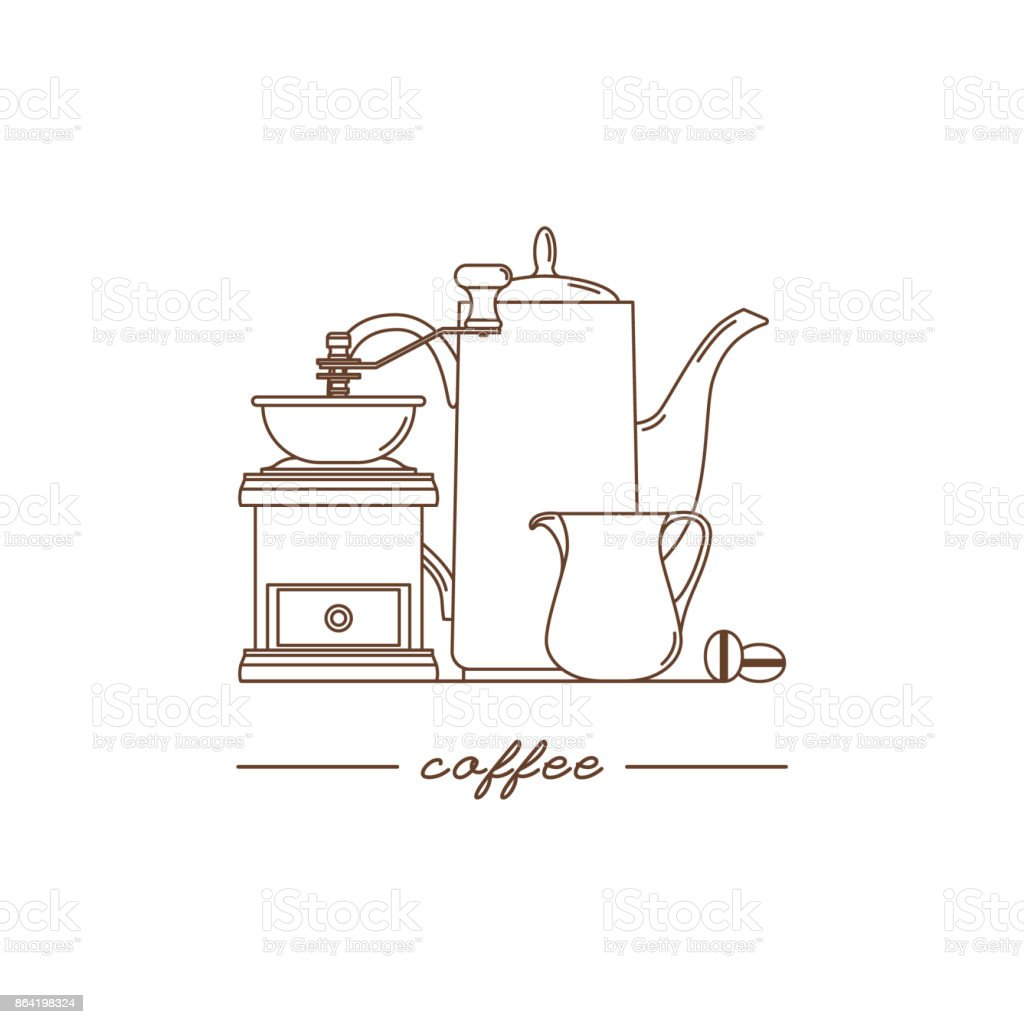 Coffee grinder, coffee pot and milk pitcher. Modern linear style. Vector illustration. royalty-free coffee grinder coffee pot and milk pitcher modern linear style vector illustration stock vector art & more images of art