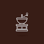 Coffee grinder icon. Coffee grinder isolated on white background. Coffee grinder icon in outline style design. Vector illustration