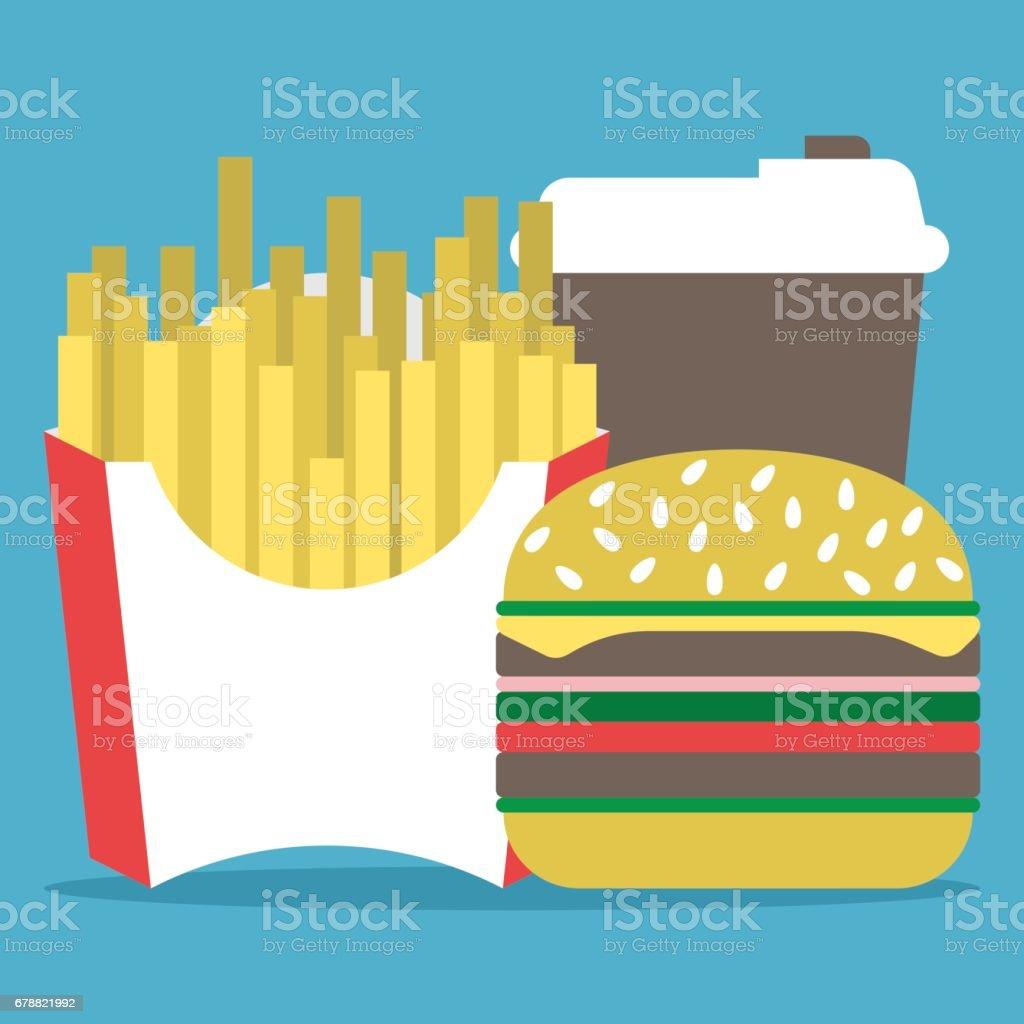 Café, hamburger, frites français café hamburger frites français – cliparts vectoriels et plus d'images de abstrait libre de droits