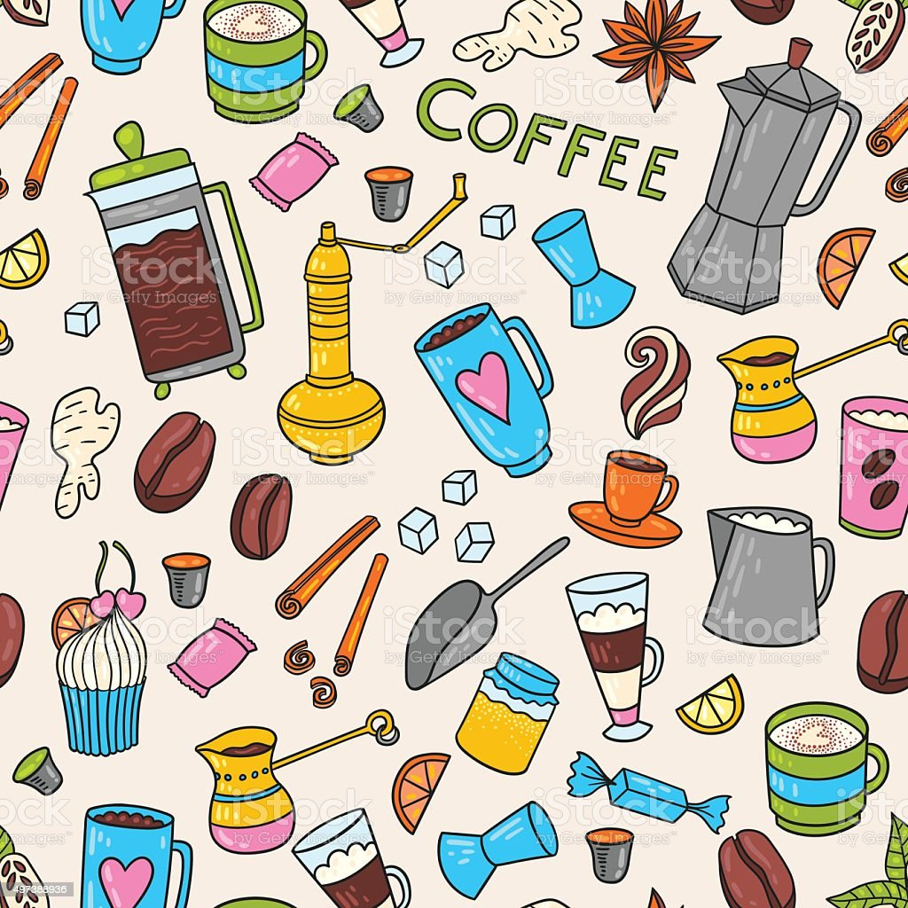 Coffee hand-drawn pattern royalty-free coffee handdrawn pattern stock vector art & more images of 2015