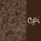 Coffee Sketchy Notebook Doodles. Hand-Drawn Vector Illustration. Coffee, Breakfast, Tea, Invite, Love Background. Coffee And Tea Design Template.