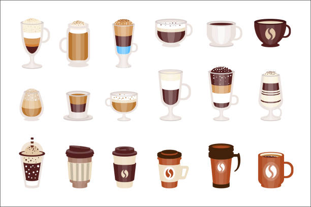 coffee hot and cold cocktails menu assortment of coffee shop cafe, set of isolated icons - espresso stock illustrations