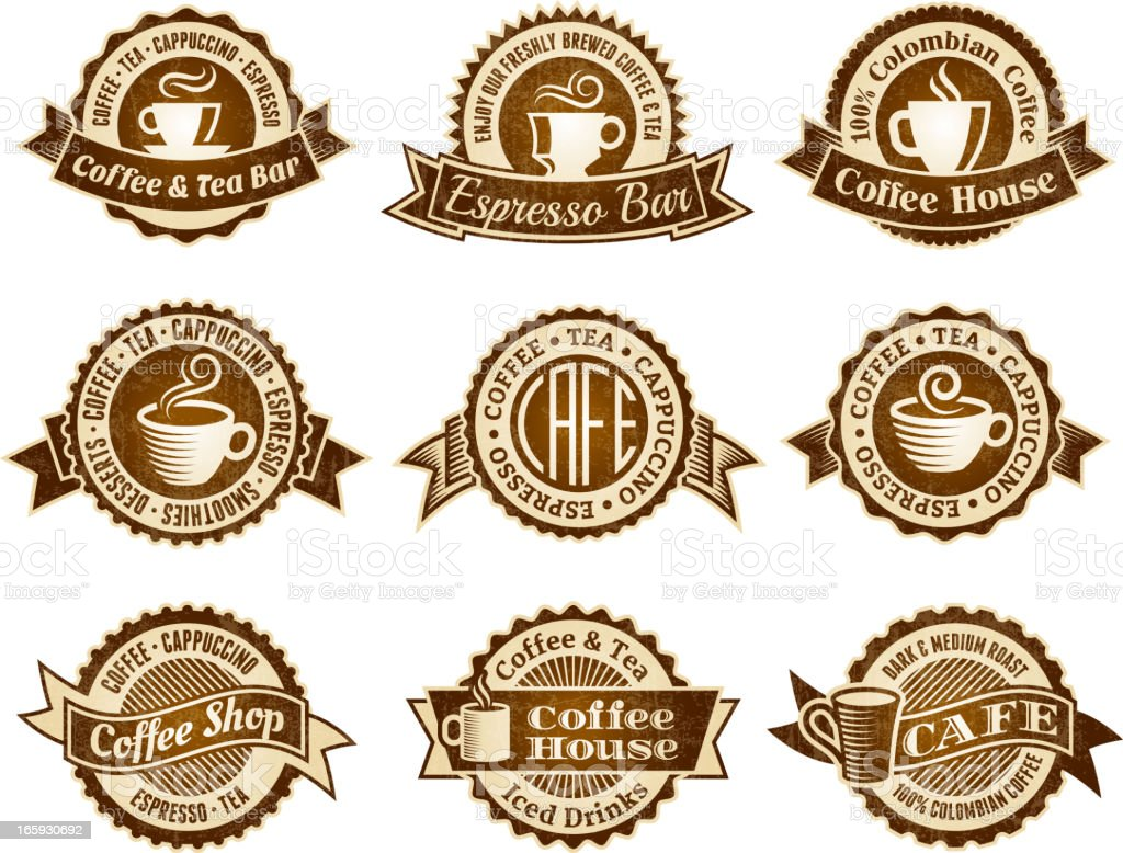 Coffee House coffee shop vector icon set royalty-free stock vector art