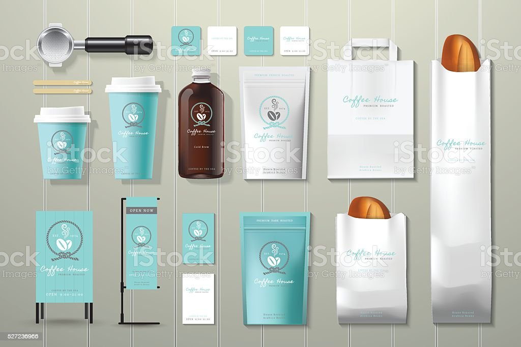 Coffee house corporate identity template design set vector art illustration