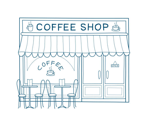 Coffee house facade hand drawn vector illustration Coffee shop front vector illustration on hand drawn style. Line drawing of the front of cafe and restaurant facade stock illustrations