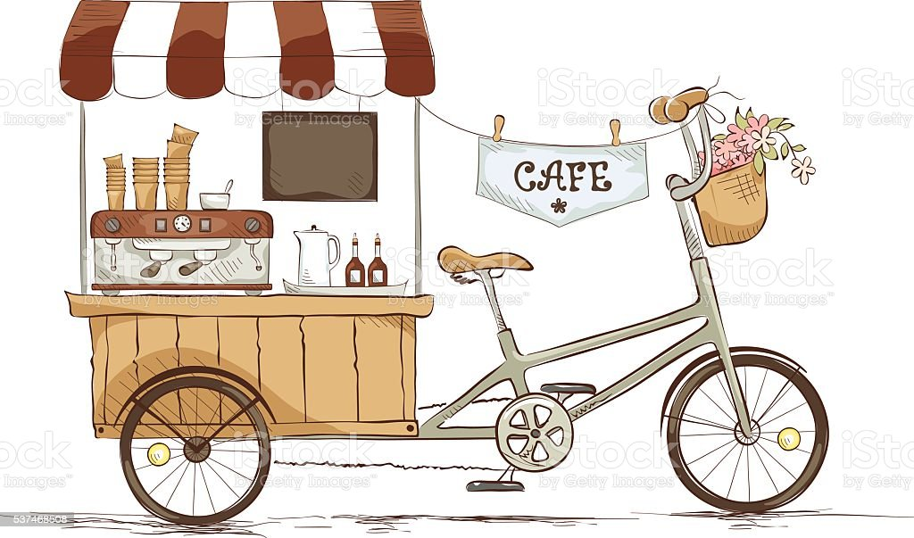 Coffee house on bicycle vector art illustration