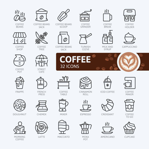 coffee house - outline icons collection - barista stock illustrations, clip art, cartoons, & icons