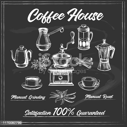 Coffee house poster on chalk board. Coffeeshop decor design like old black chalkboard posters, vector illustration