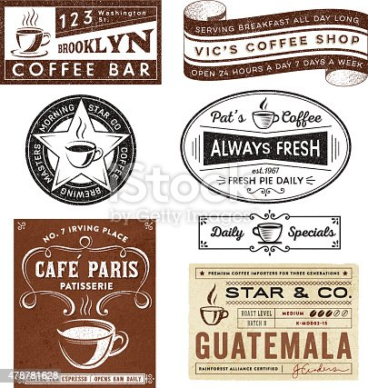 istock Coffee House Themed Badges and Labels 478781628