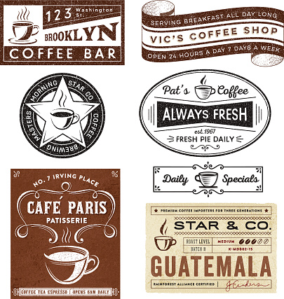 Coffee House Themed Badges and Labels