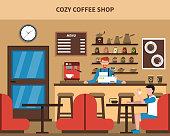 Cozy coffee shop bar interior retro style flat banner with barmen menu and customer abstract vector illustrat