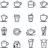 Coffee Icon Bold Stroke on White Background. Vector Illustration