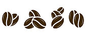 Coffee icon. Coffee beans set. Vector illustration