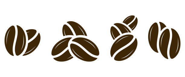 coffee icon. coffee beans set. vector - ziarno kawy palonej stock illustrations