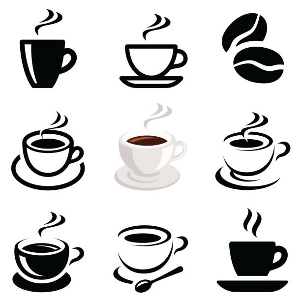Coffee icon collection Coffee icon collection - vector outline illustration and silhouette cafe stock illustrations