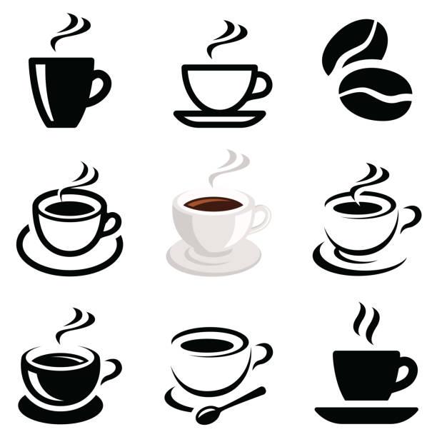 kaffee icon-sammlung - café stock-grafiken, -clipart, -cartoons und -symbole