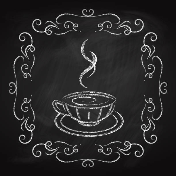 Coffee icon, drawn in chalk on a blackboard vector art illustration