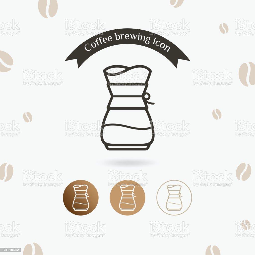 Icono del café de fabricación método de verter sobre - ilustración de arte vectorial