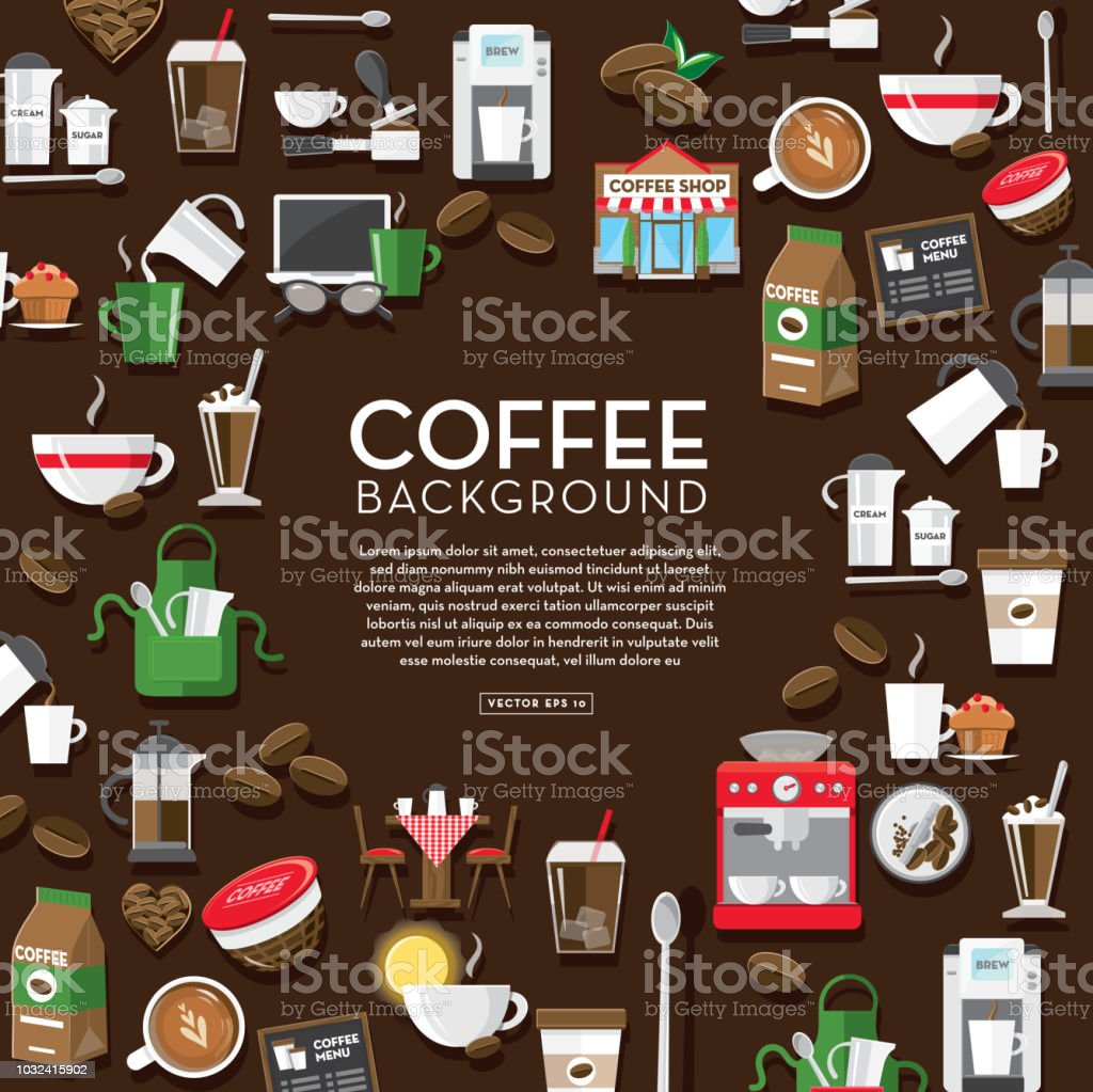 Coffee icon set background design template with placement text royalty-free coffee icon set background design template with placement text stock illustration - download image now