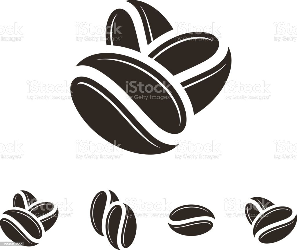 Coffee. Icon set. Isolated coffee beans on white background vector art illustration