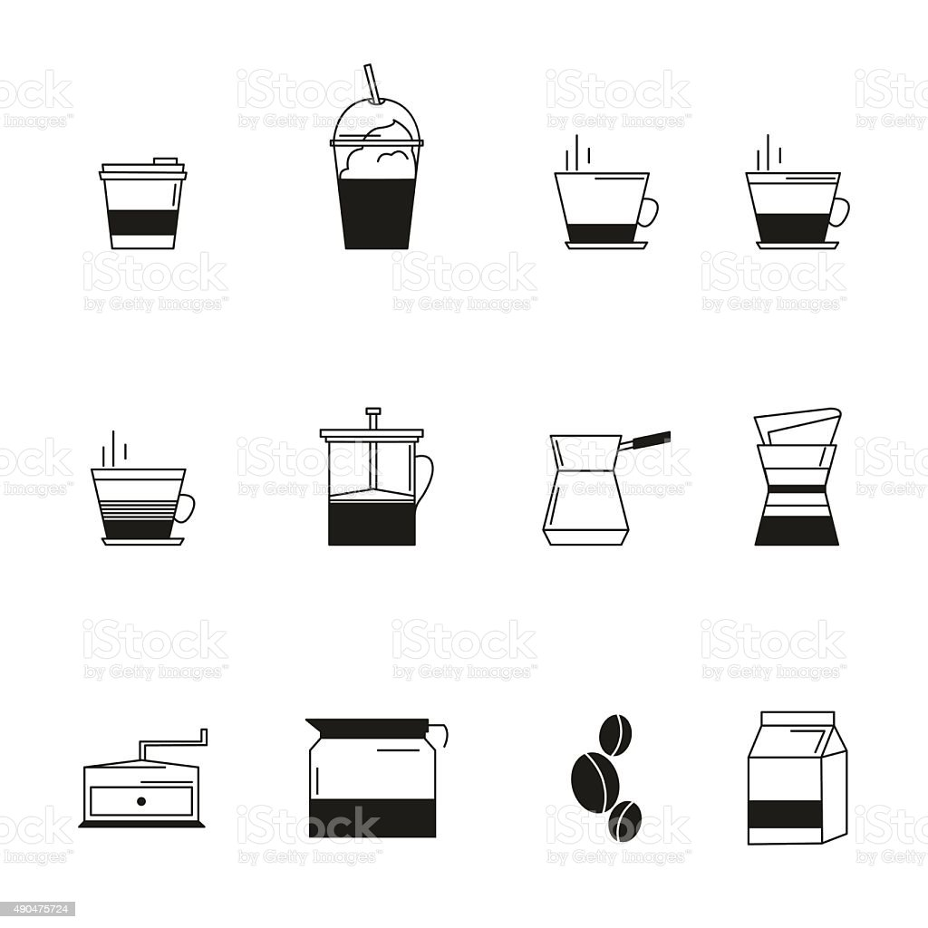 Coffee icon set. line style coffee sign vector art illustration