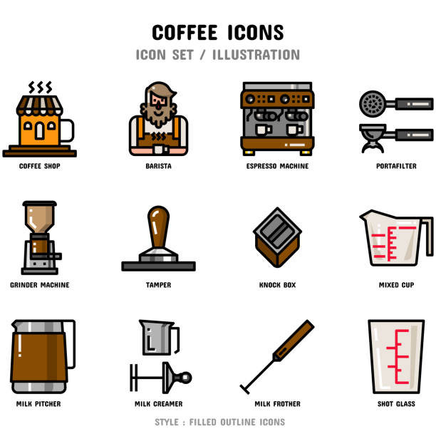 coffee icon set - barista stock illustrations, clip art, cartoons, & icons