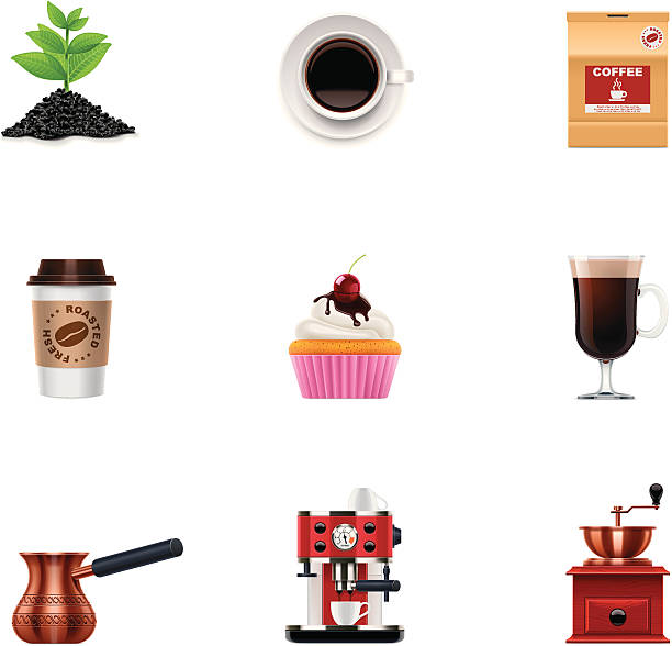 Coffee icon set Set of detailed coffee related icons irish coffee stock illustrations
