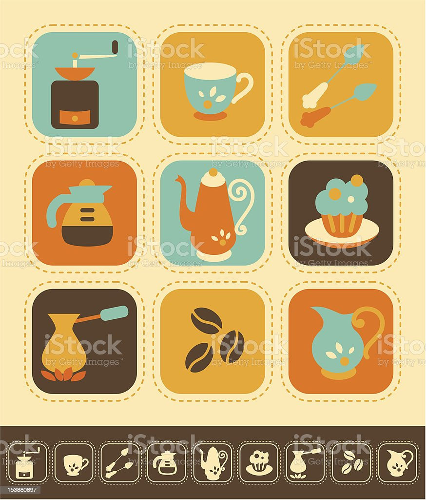Coffee Icon Set royalty-free coffee icon set stock vector art & more images of backgrounds