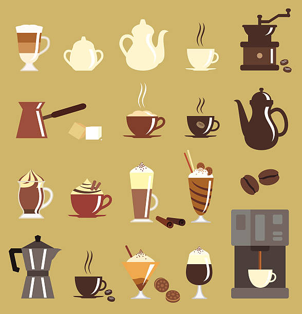 kaffee-icon-set - vanillecreme stock-grafiken, -clipart, -cartoons und -symbole