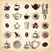 A collection of coffee, tea & cafe themed icons. EPS 10 file, with transparencies (overall layer effects only), layered & grouped.