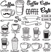 A set of coffee related icon set. Every icon is grouped individually.