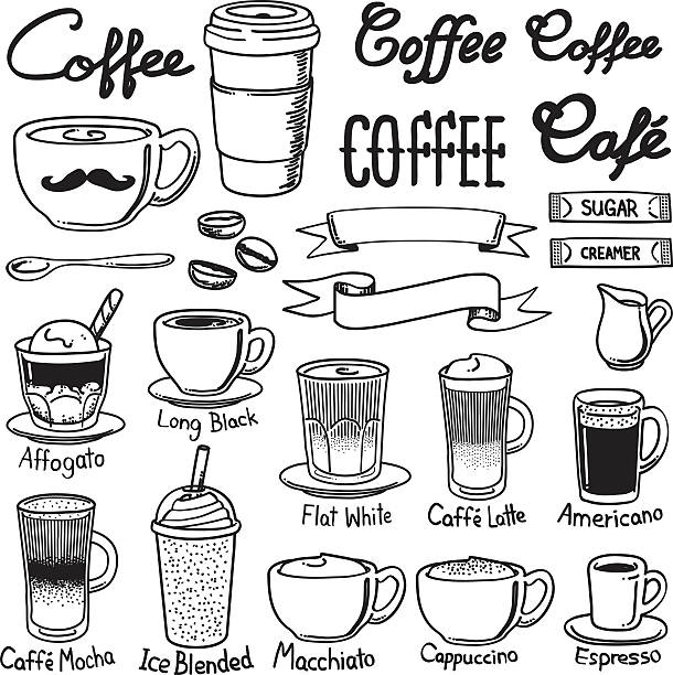 coffee icon sets A set of coffee related icon set. Every icon is grouped individually. cafe stock illustrations