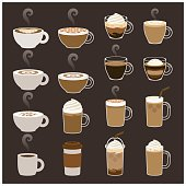 A set of 16 expresso drink icon set. Each icon is grouped individually.