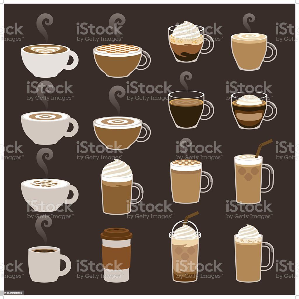 coffee icon sets vector art illustration
