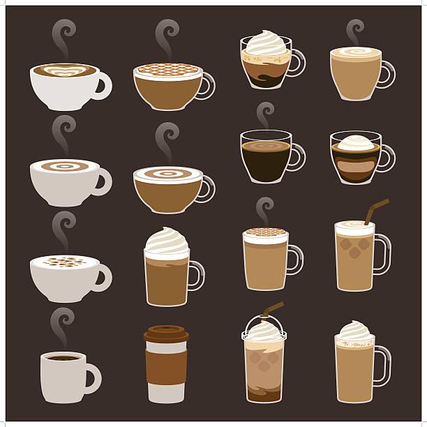 kawa zestawy ikon - cappuccino stock illustrations