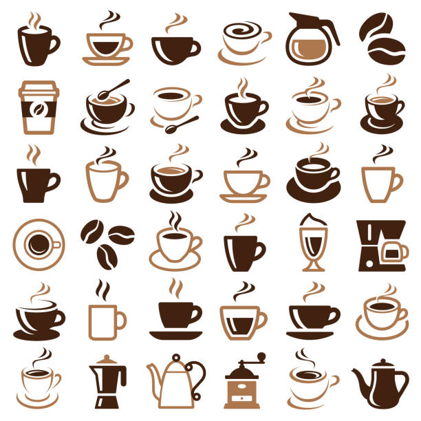 Coffee icon Coffee icon collection - vector outline illustration and silhouette cafe stock illustrations