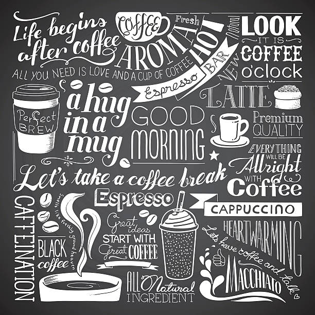 coffee icon wallpaper - tafelkreide stock-grafiken, -clipart, -cartoons und -symbole
