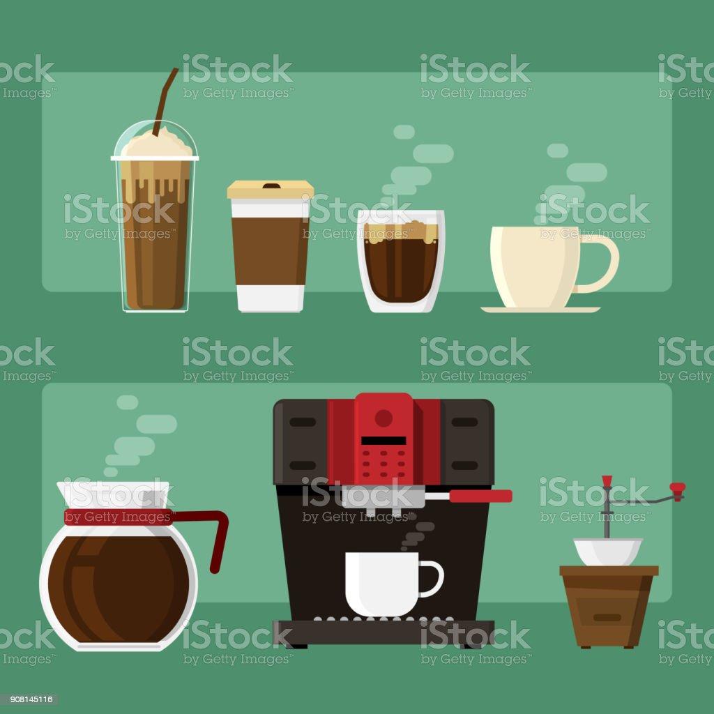 Los iconos de café y máquina de café y taza de beben elementos sobre fondo. Ilustración de vector - ilustración de arte vectorial